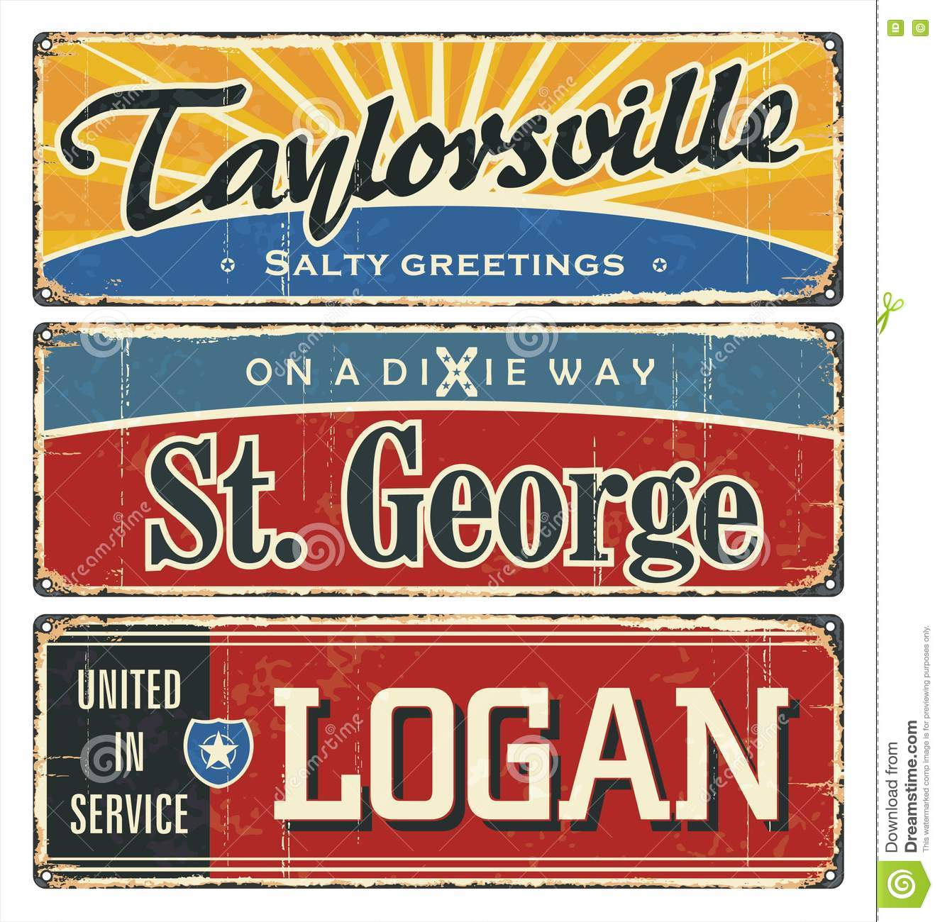 Vintage tin sign collection with USA cities. Tourist destination. Top ten. City. America. Retro souvenirs or postcard templates on