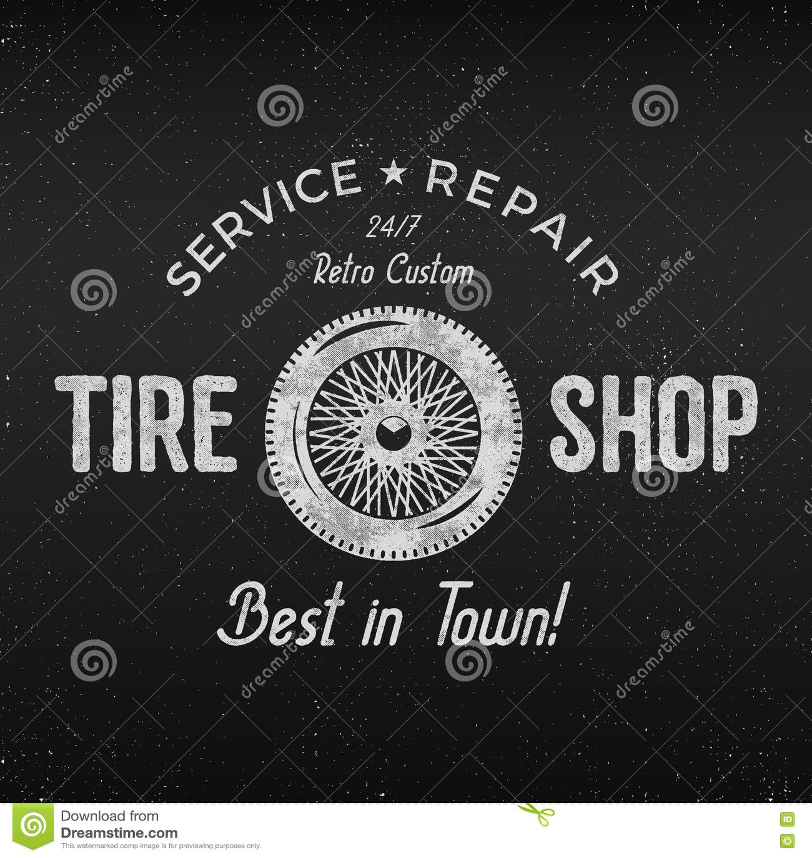 Design car repair workshop - Vintage Tire Shop Label Design Garage Repair Poster Retro Monochrome Design Good For