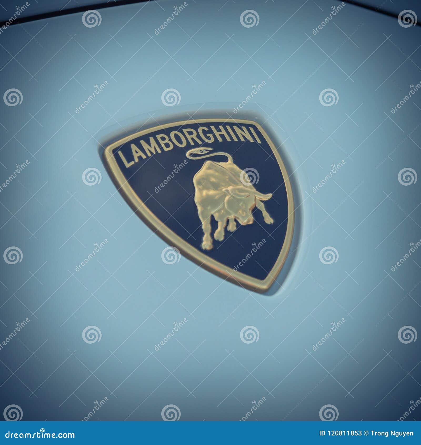 Vintage Tone Lamborghini Logo On White Aventador Editorial Stock