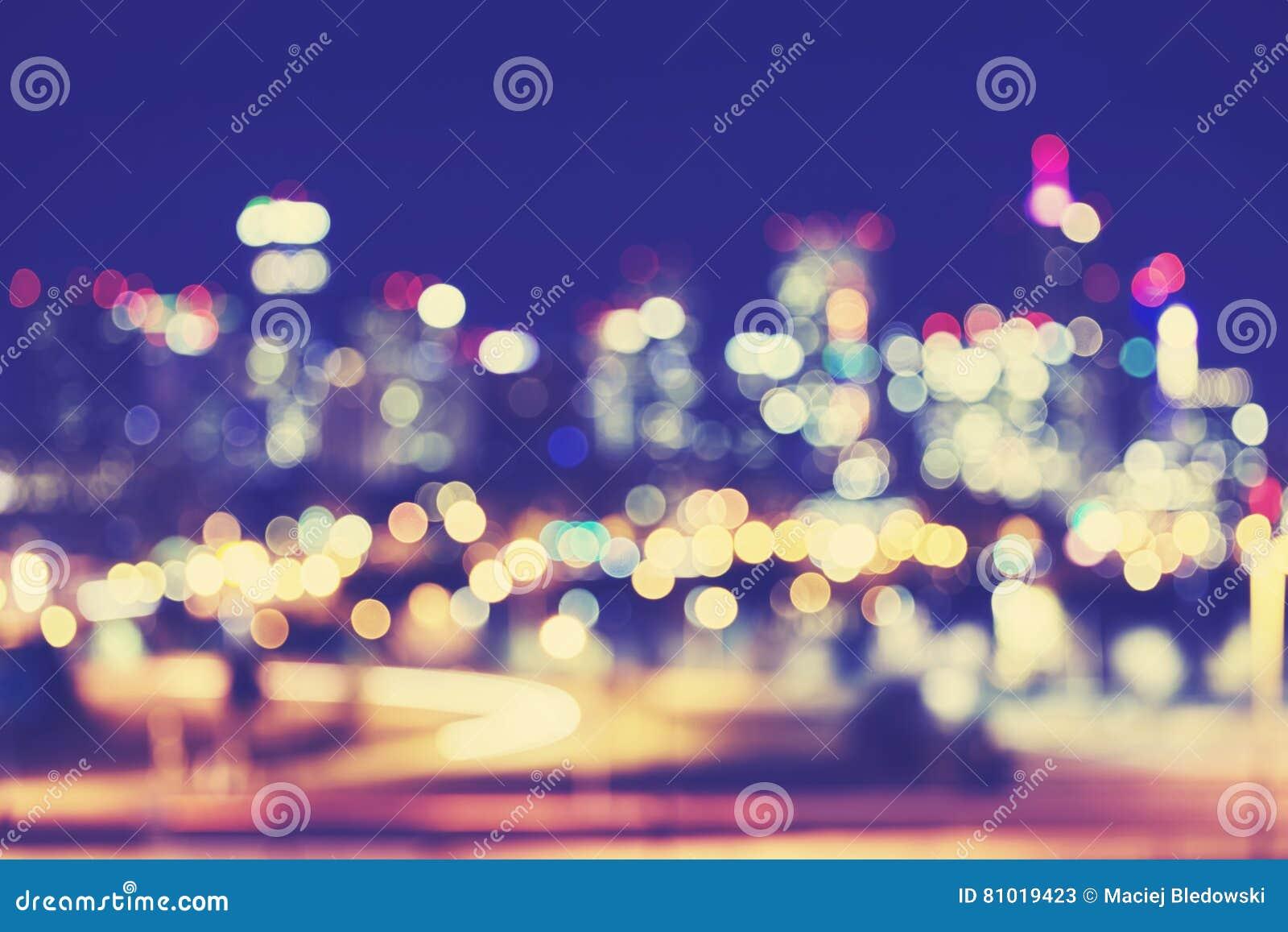 Download Vintage Toned Blurred Denver City Lights At Night. Stock Image    Image Of Vintage