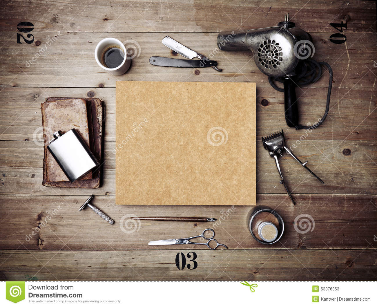 Poster design tools - Vintage Tools Of Barber Shop With Blank Kraft Poster Stock Photos