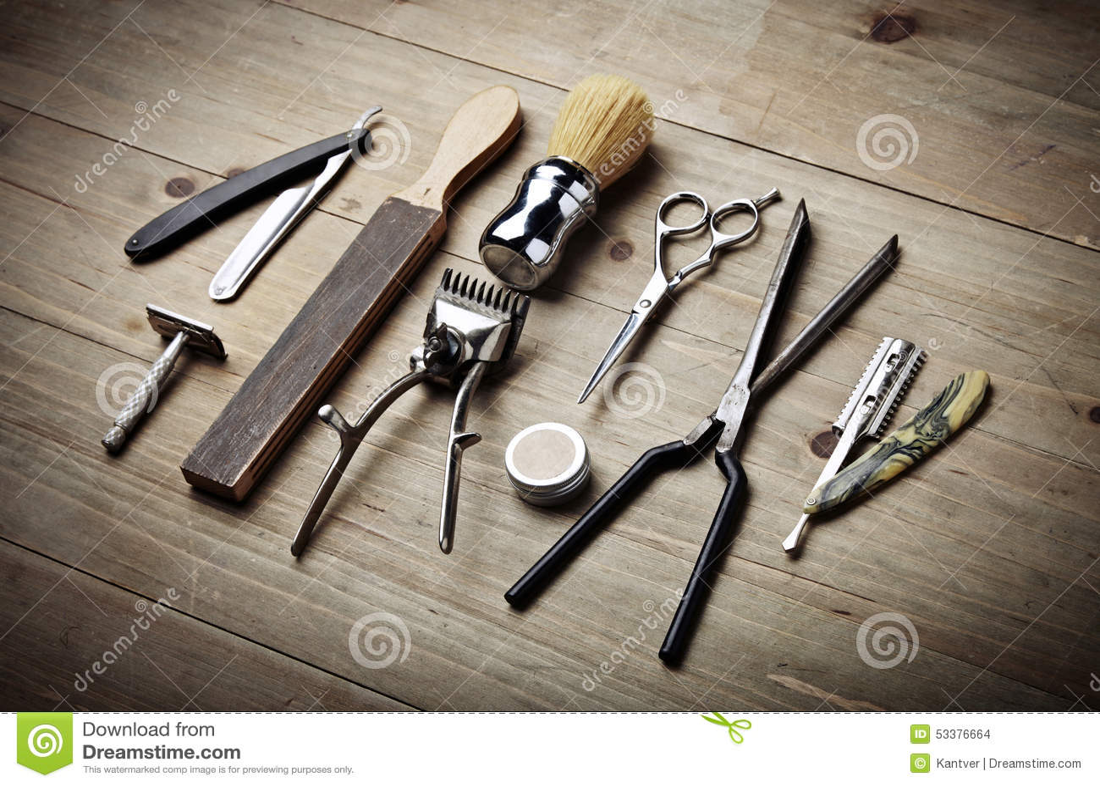 Vintage Tools Of Barber Shop On Wood Desk Stock Photo