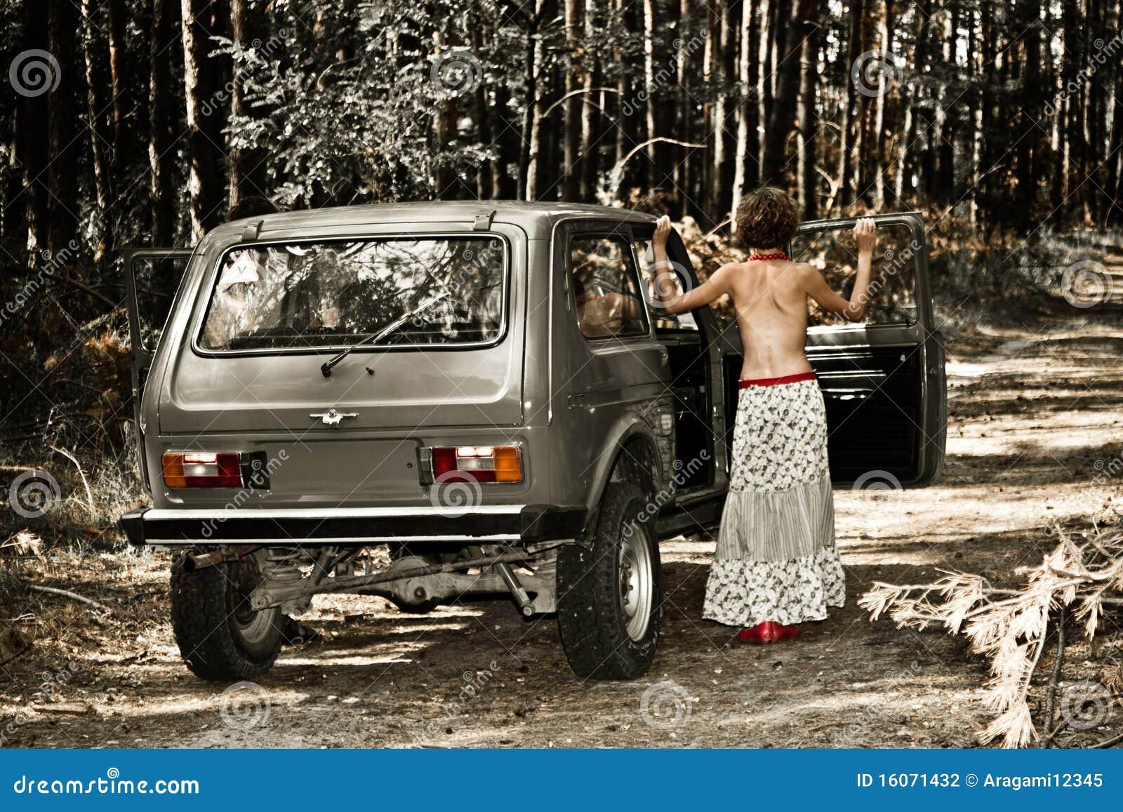 girl topless in car
