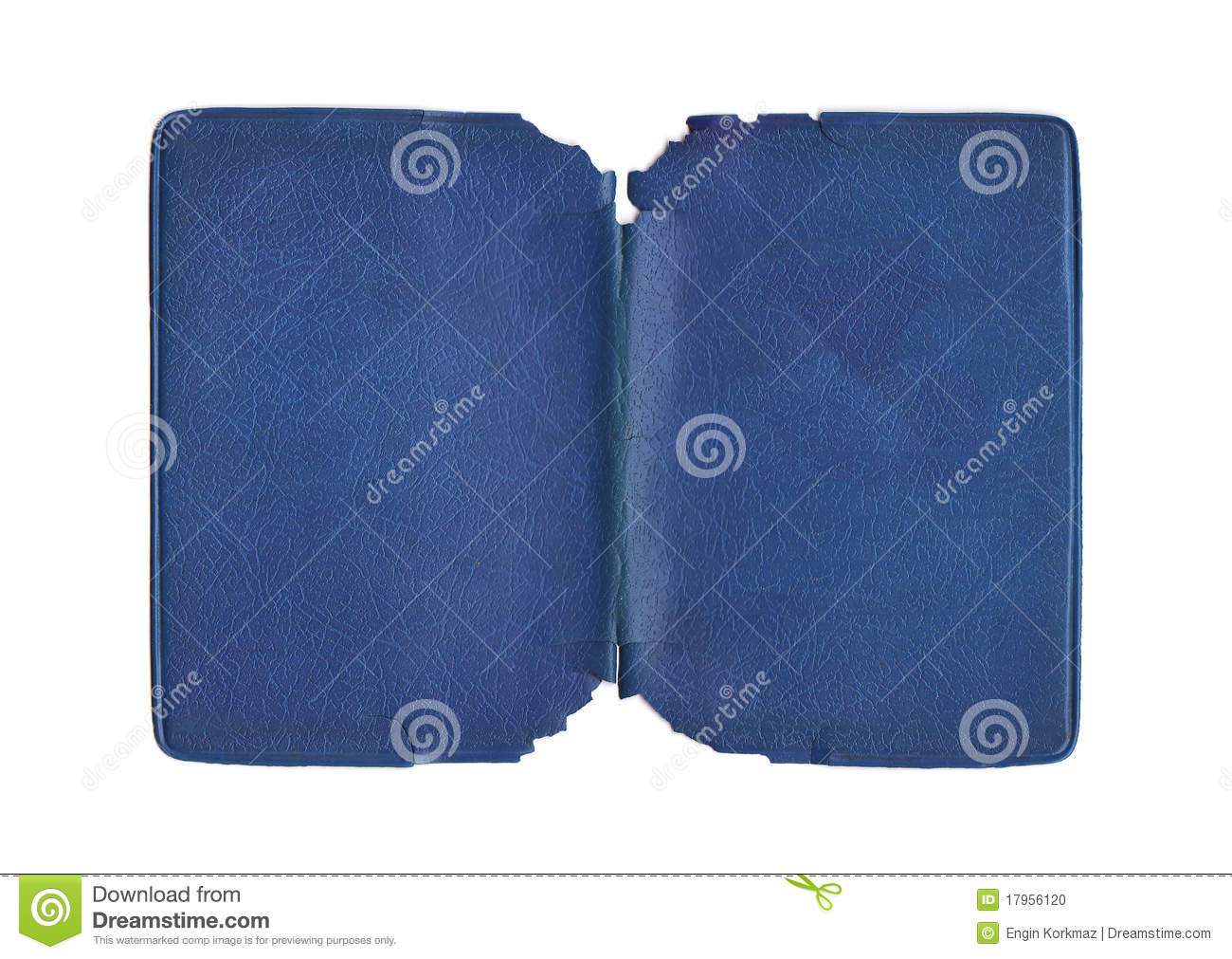 Torn Paper Book Cover ~ Vintage torn blue cover stock photo image