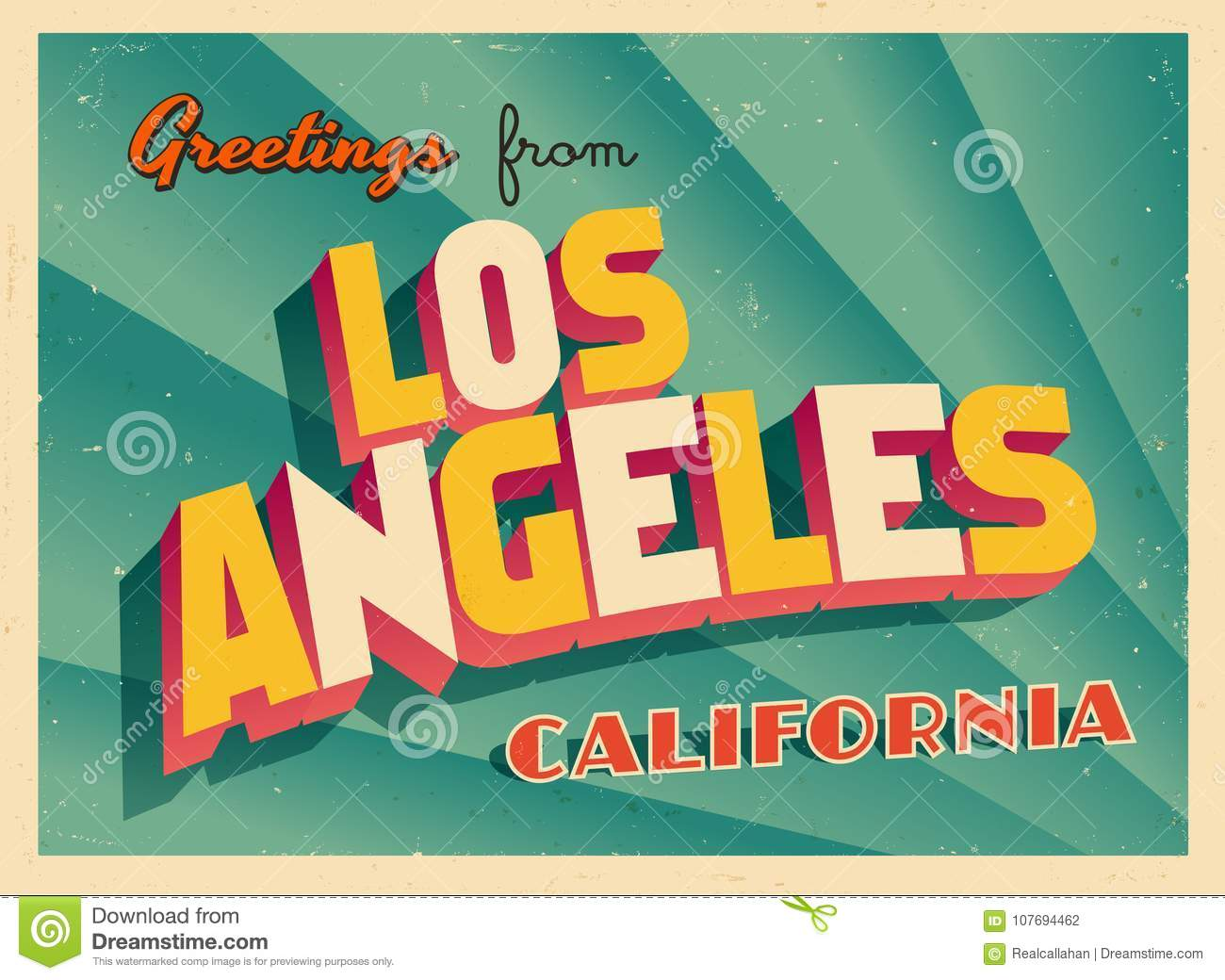 Vintage touristic greeting card from los angeles california stock download comp m4hsunfo