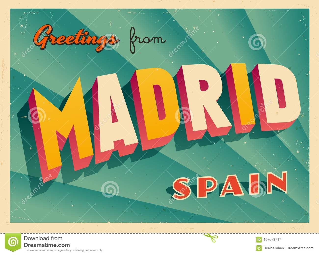 Vintage Touristic Greeting Card From Madrid Stock Vector