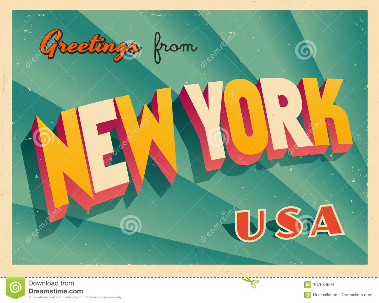 Vintage Touristic Greeting Card From New York Stock Vector