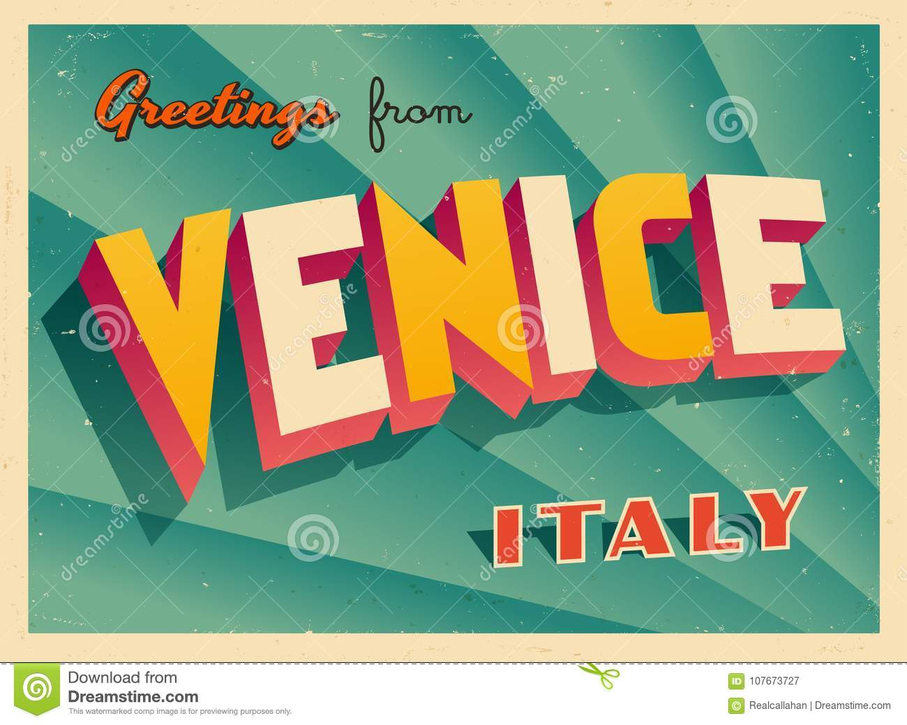 Vintage Touristic Greeting Card From Venice Stock Vector