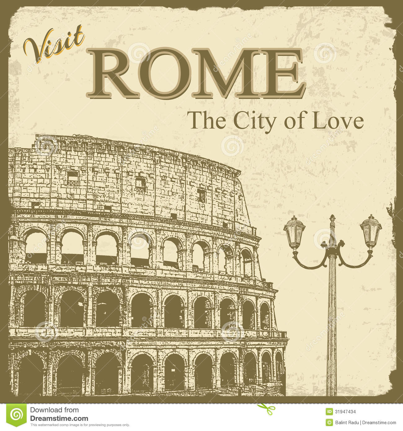 Vintage Touristic Poster - Rome Stock Images - Image: 31947434