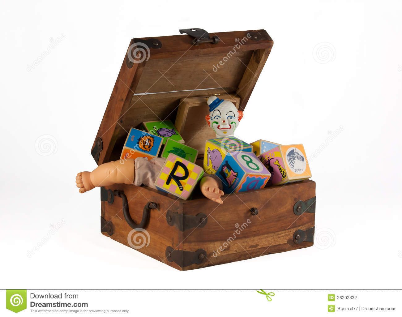 Vintage Toy Box With Doll, Clown And Blocks Stock Photography - Image ...