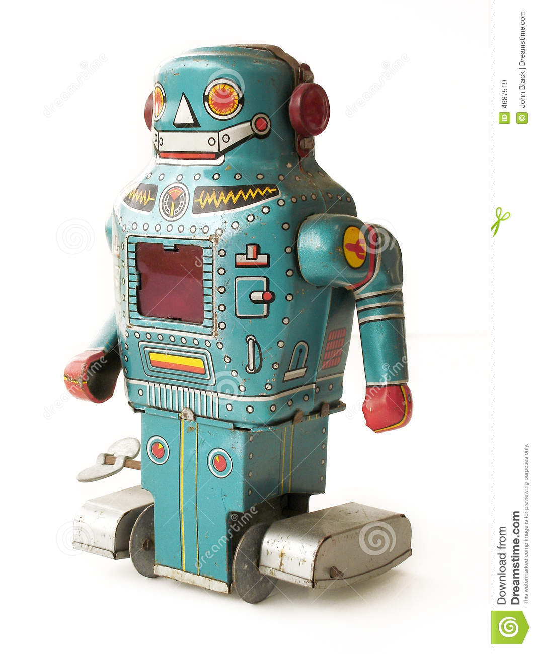 Vintage Toy Robots : Vintage toy robot stock image of retro chip