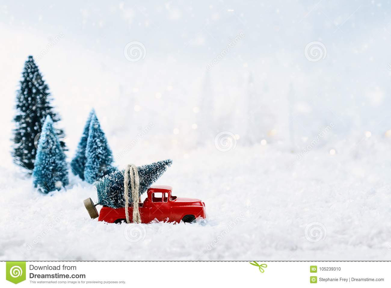 Vintage Toy Truck And Christmas Tree Stock Photo Image Of Creative