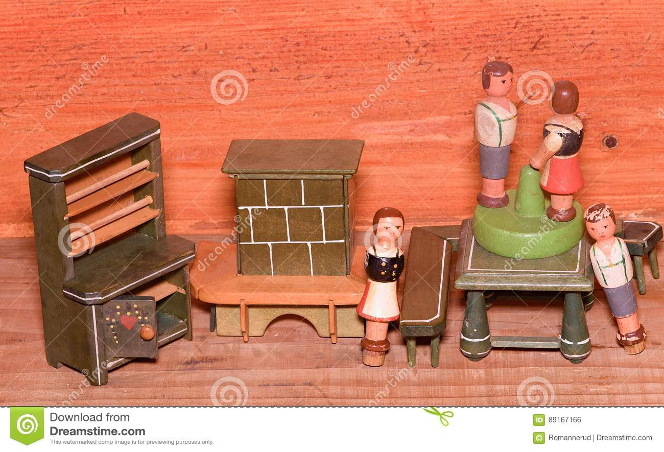 Vintage Toys For Girls. Wooden Retro Toys. Toy Cupboard And Toy ...