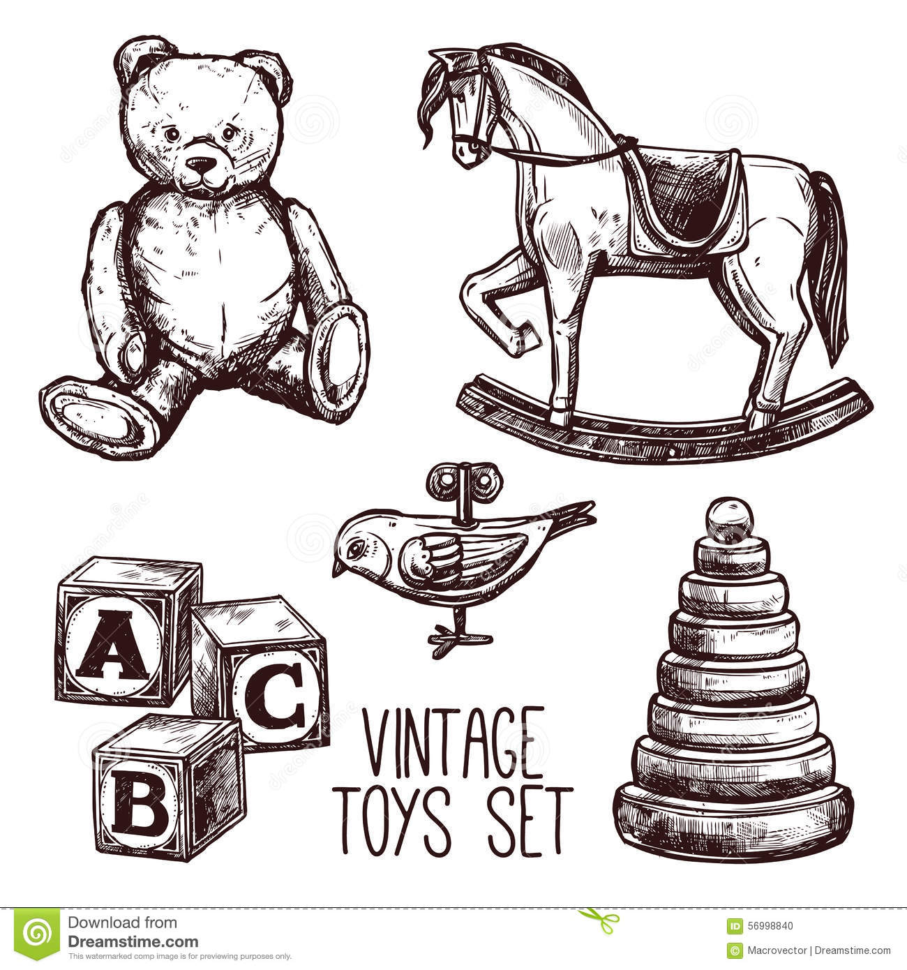 Vintage toys set stock vector illustration of icons for Sketch online free