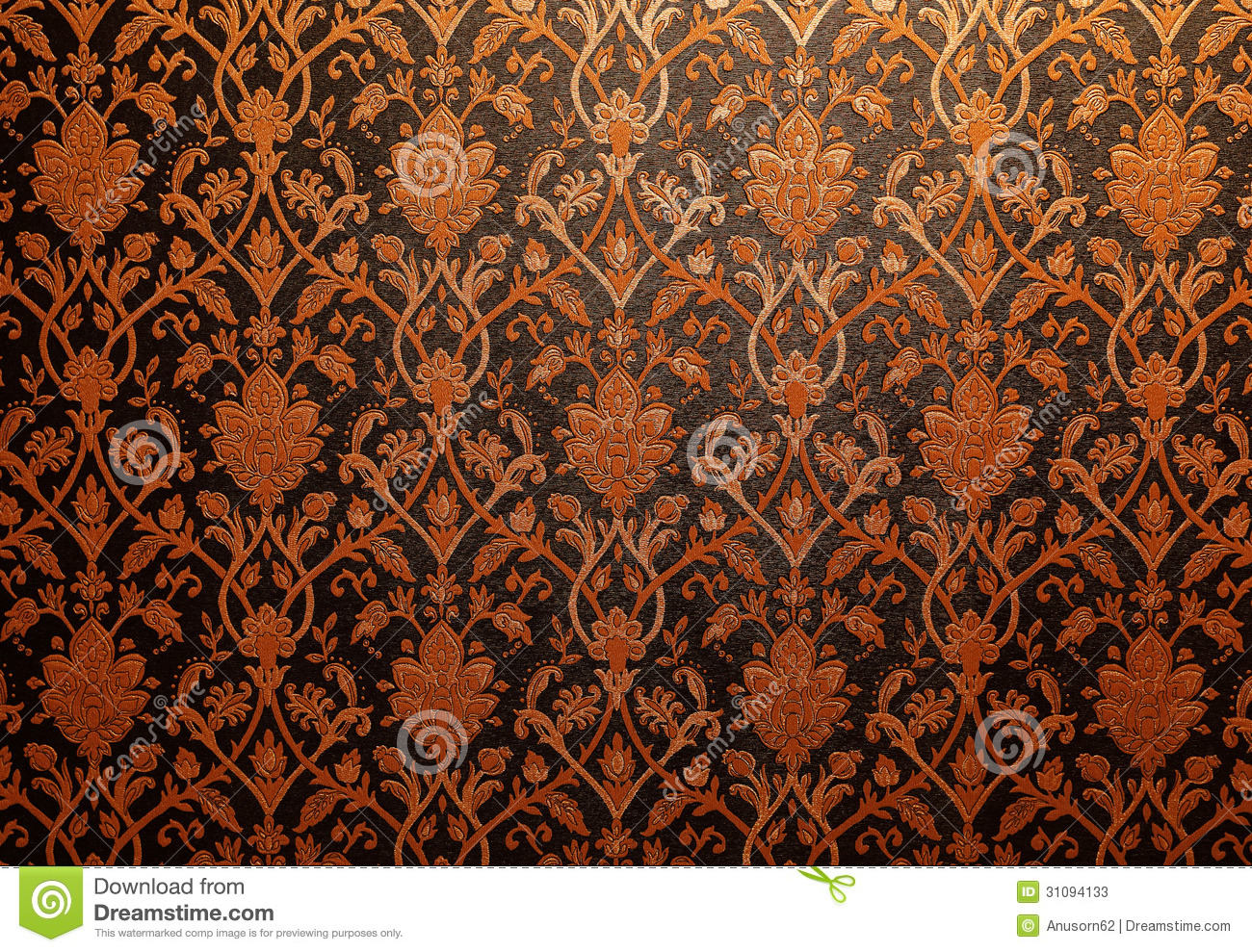 Thai Design Wallpaper : Vintage traditional thai line art wallpaper stock image