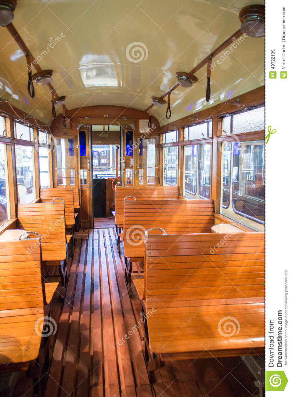 vintage tram car interior stock photo image 49722139. Black Bedroom Furniture Sets. Home Design Ideas