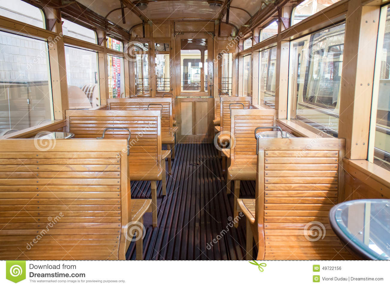 vintage tram car interior stock photo image 49722156. Black Bedroom Furniture Sets. Home Design Ideas