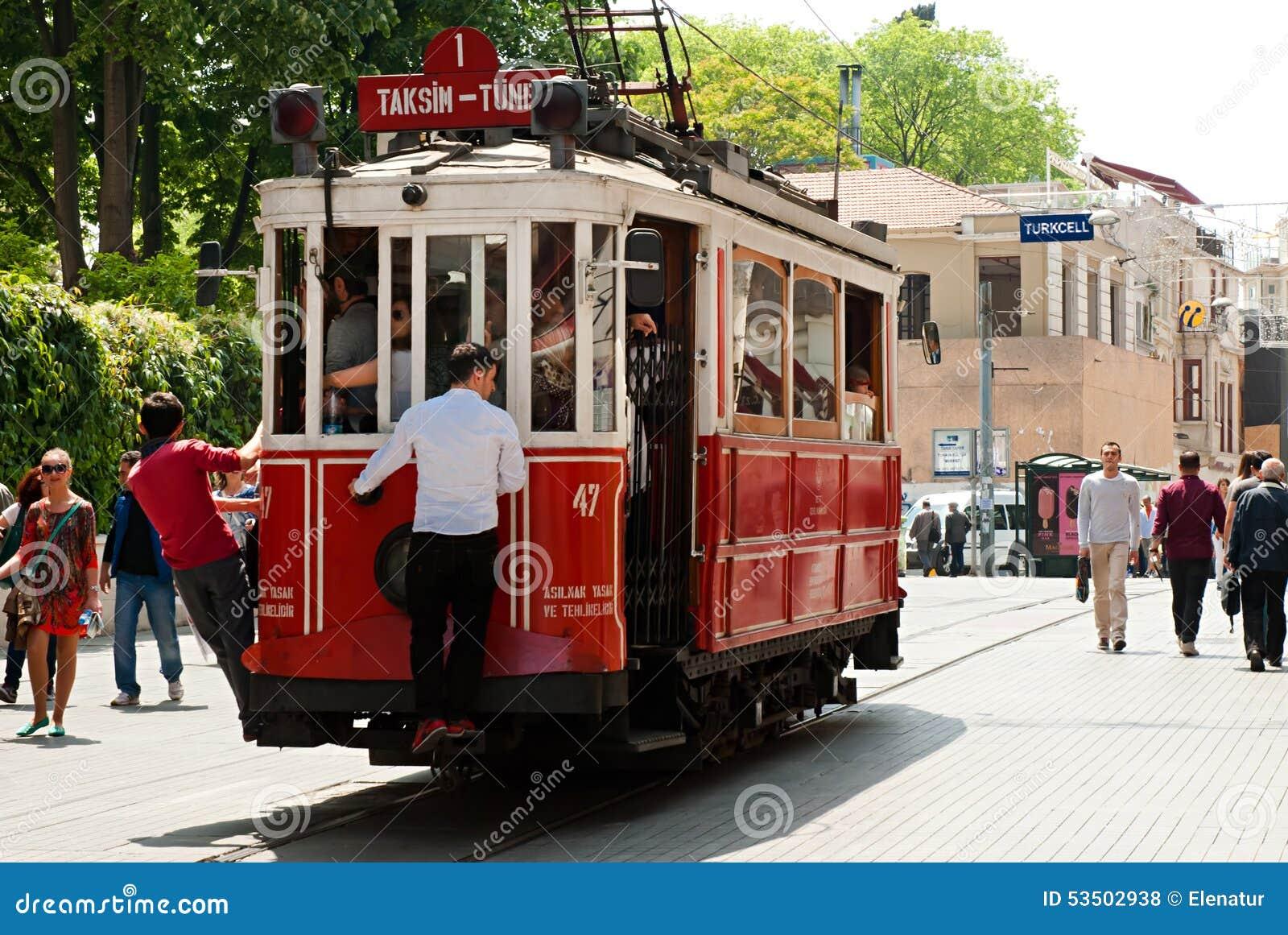 Vintage tram on the Taksim Istiklal Street, Istanbul, Turkey.