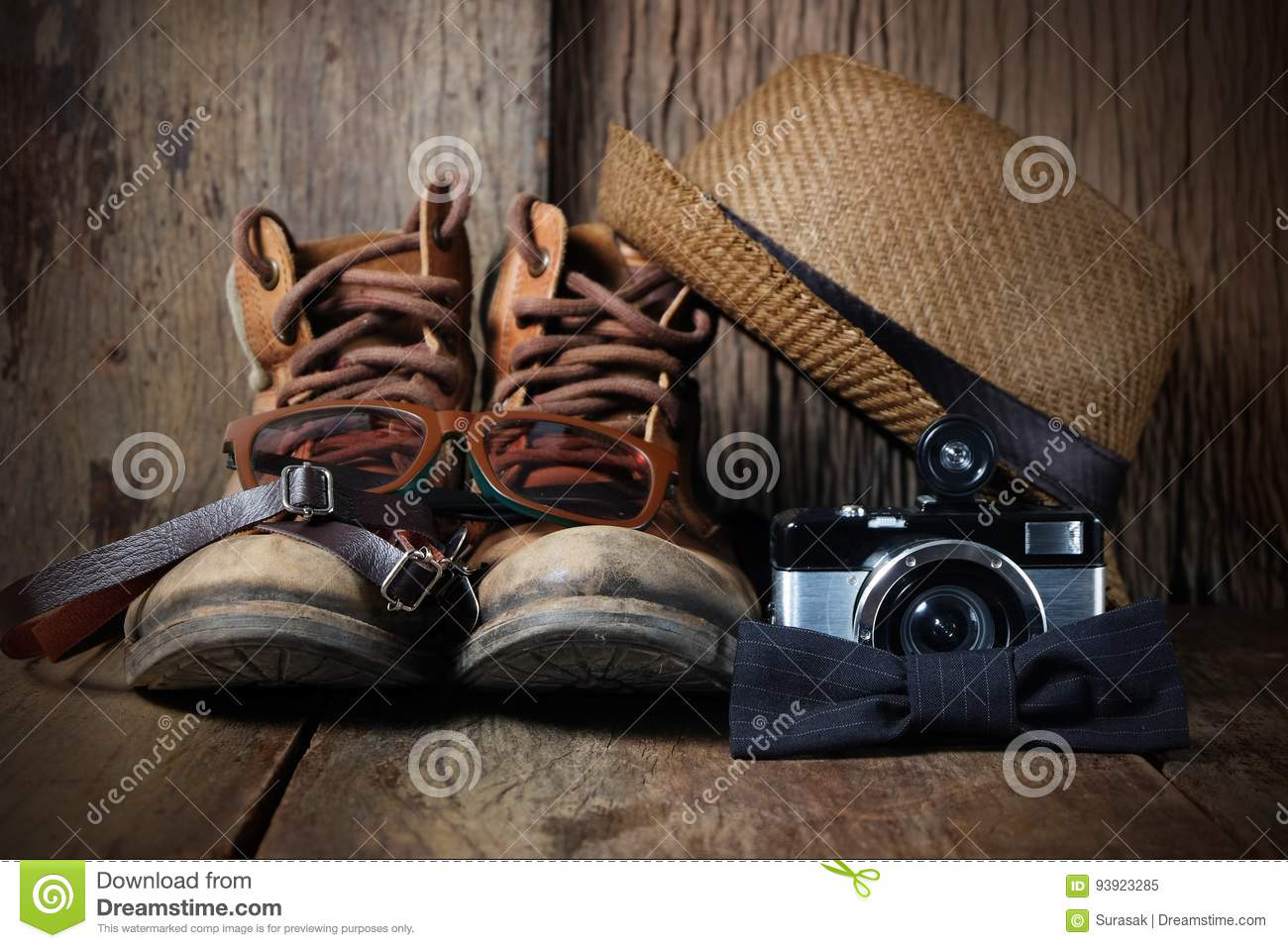 Vintage Travel Accessories Stock Image Image Of Clothes 93923285