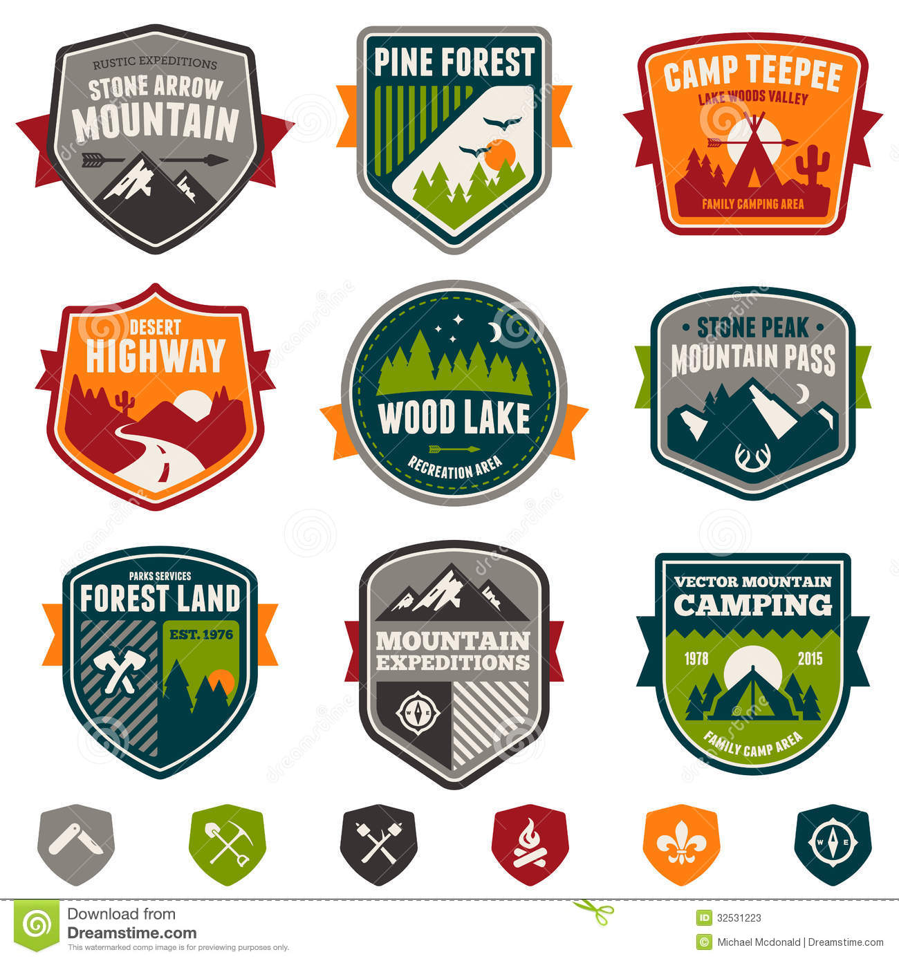 Vintage Travel And Camp Badges Stock Vector Image 32531223