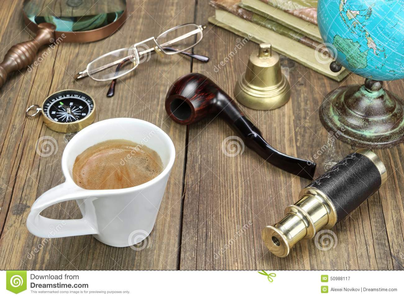 Vintage Travel Items On Wooden Table Stock Image
