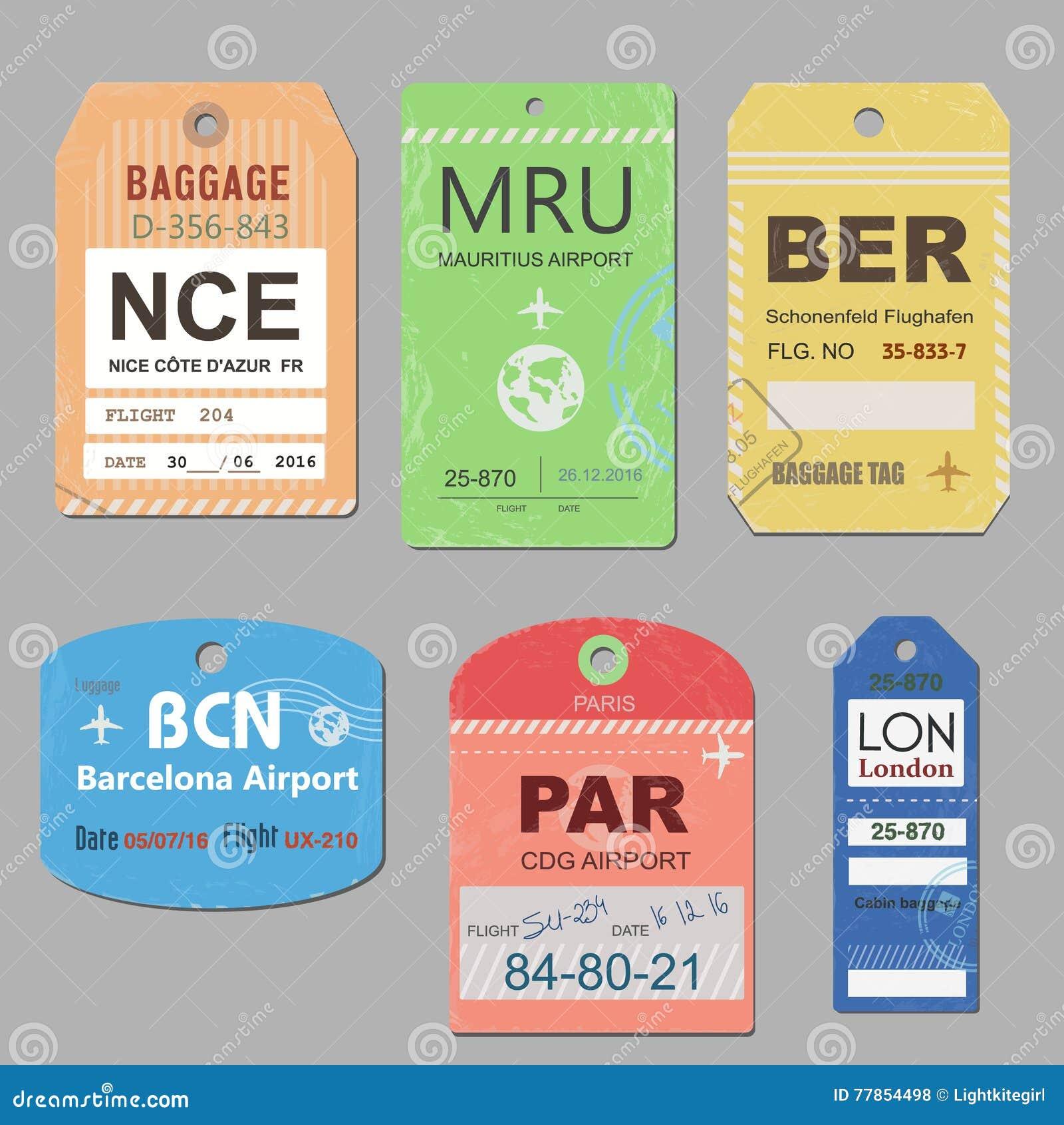 Vintage Travel Luggage Tags Vector. Retro Baggage Tag Illustration ...