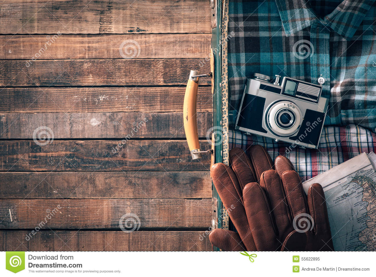 Image of: Shutterstock Hipster Travelers Old Suitcase With Vintage Camera Map And Gloves Blank Copy Space On The Left Dreamstimecom Vintage Traveler Packing Stock Image Image Of Copy Shirt 55622895