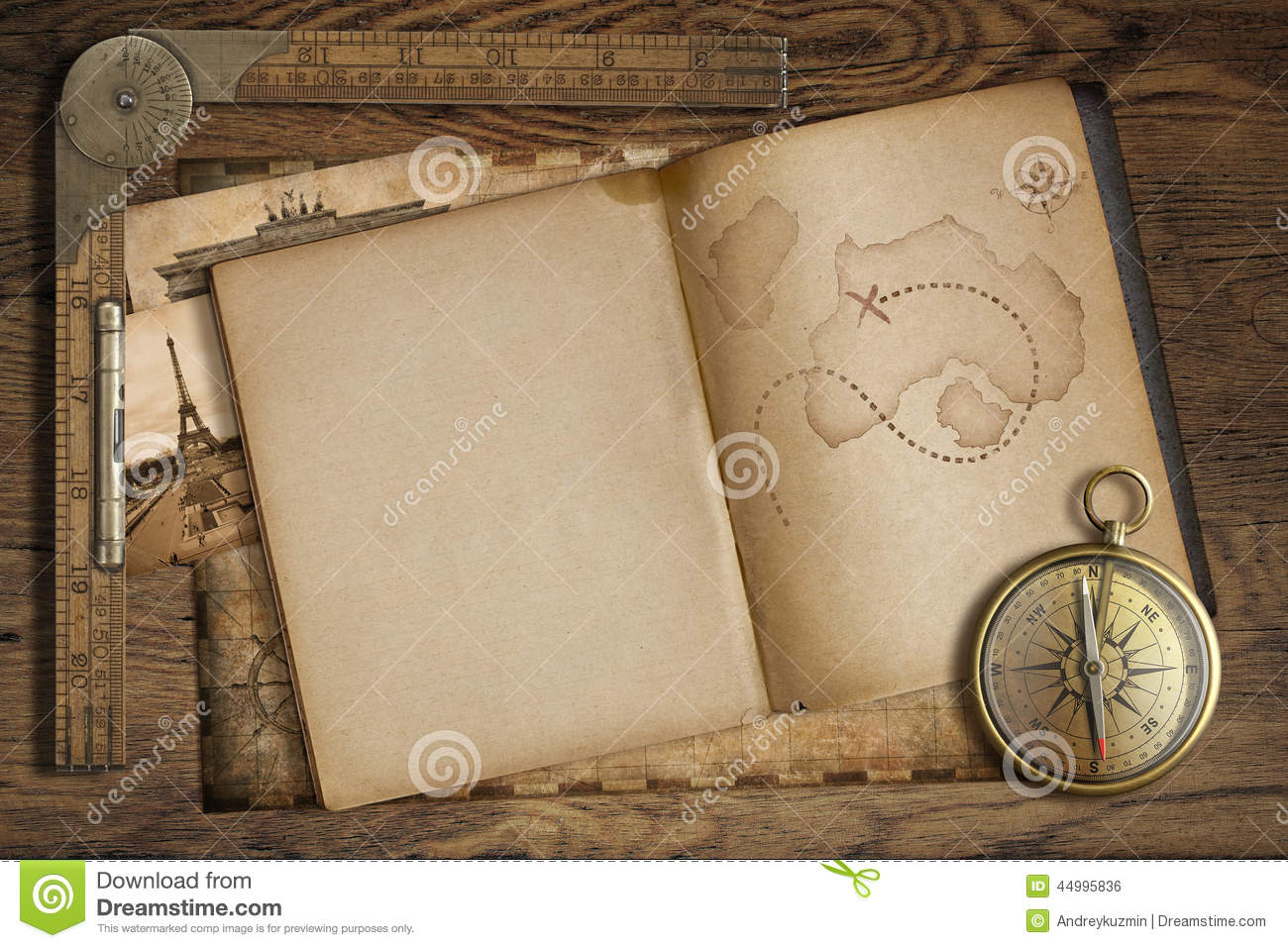 Vintage Treasure Map In Open Book With Compass And Old ...