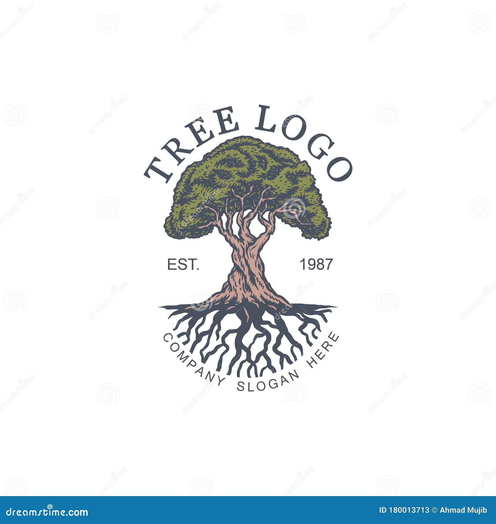 Vintage Tree Vector Illustration Logo Design Template Stock Vector Illustration Of Leaves Insurance 180013713
