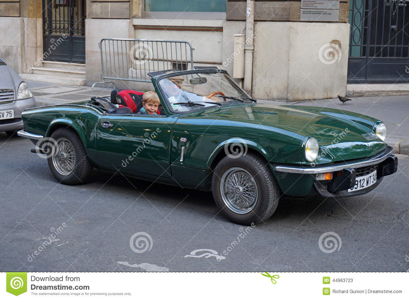 Photo of vintage british triumph sports car in paris france on 9/15/14