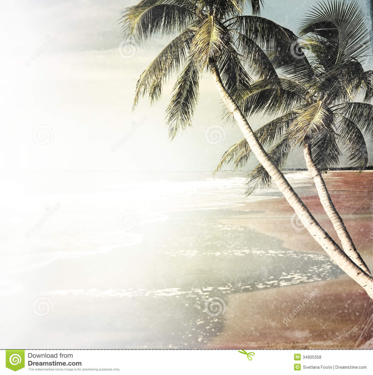 Vintage Tropical Beach Background Royalty Free Stock