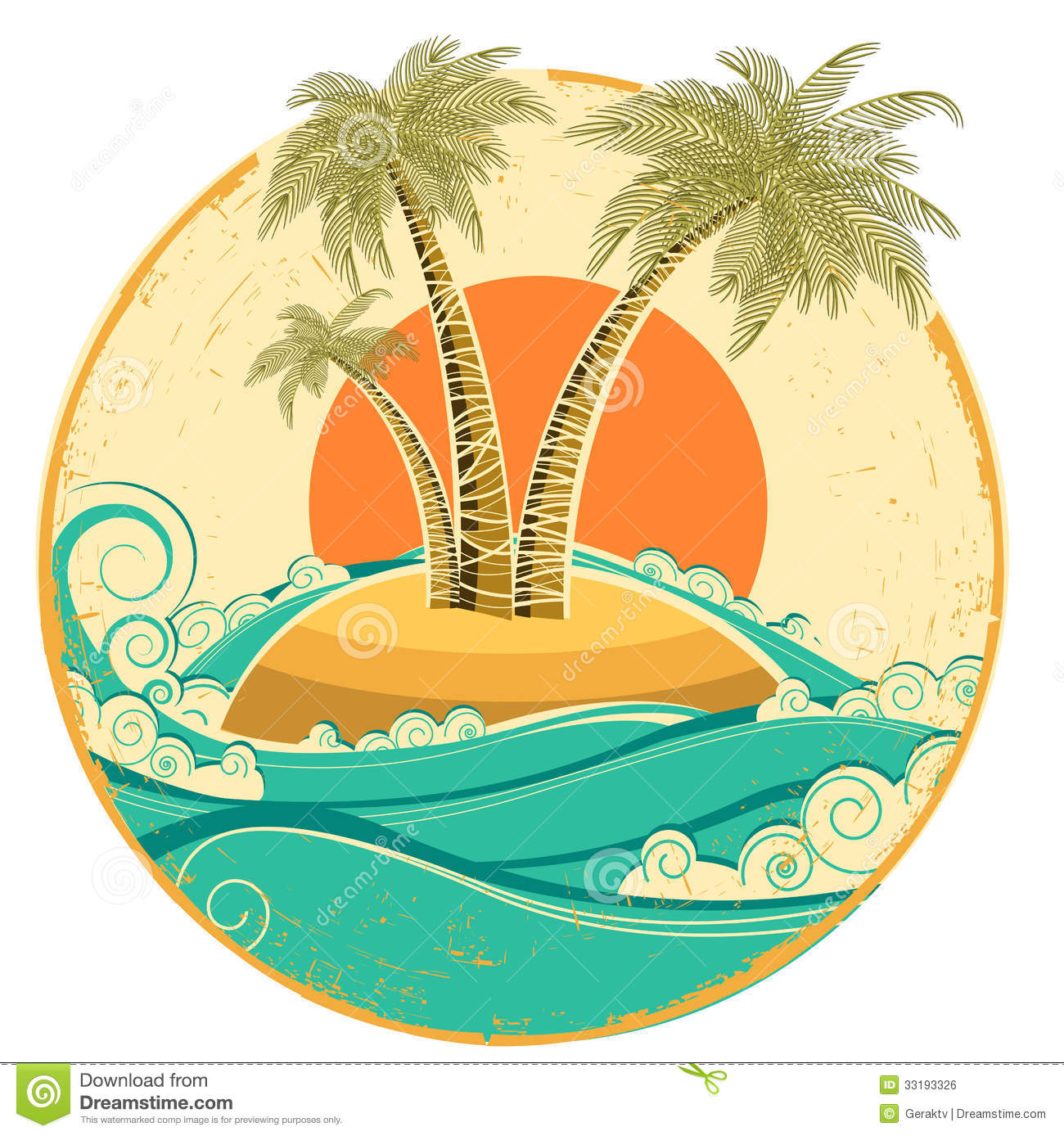 Vector Vintage Pop Art Beach Holiday Illustration Stock: VIntage Tropical Island.Vector Symbol Seascape Wit Royalty