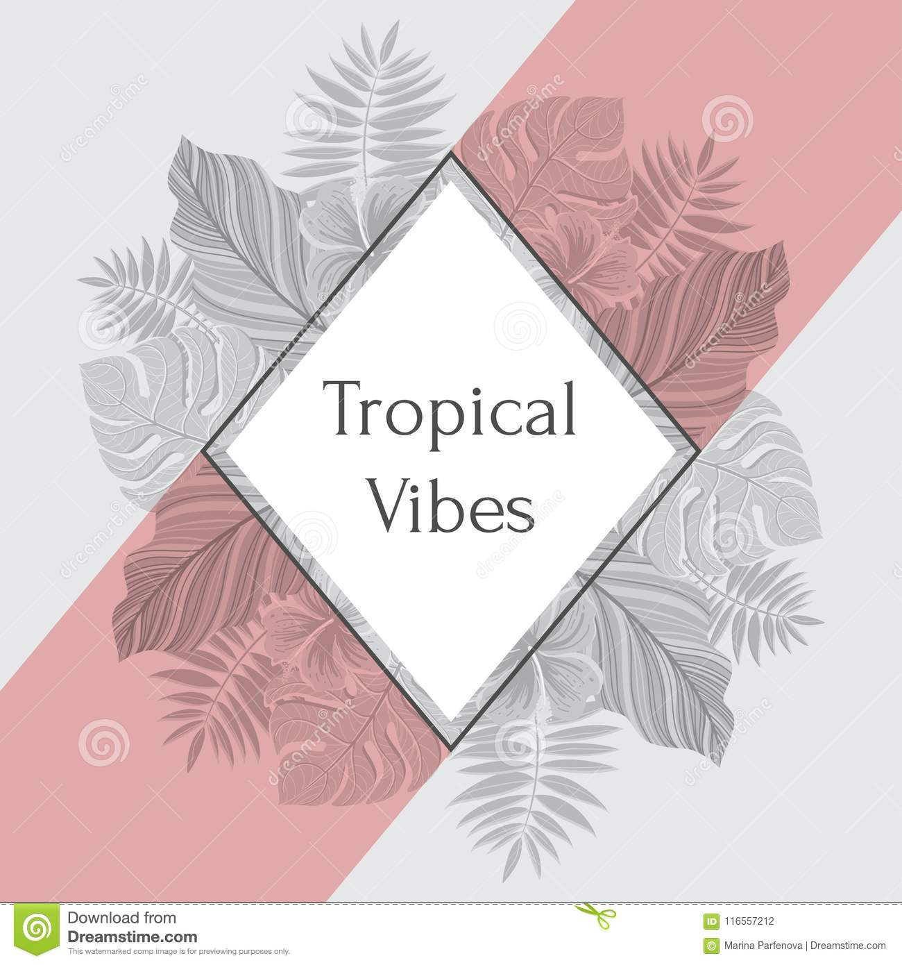 Vintage Tropical Label With Palm Leaves For Invitation Greeting Card Poster Package And More Vector Illustration