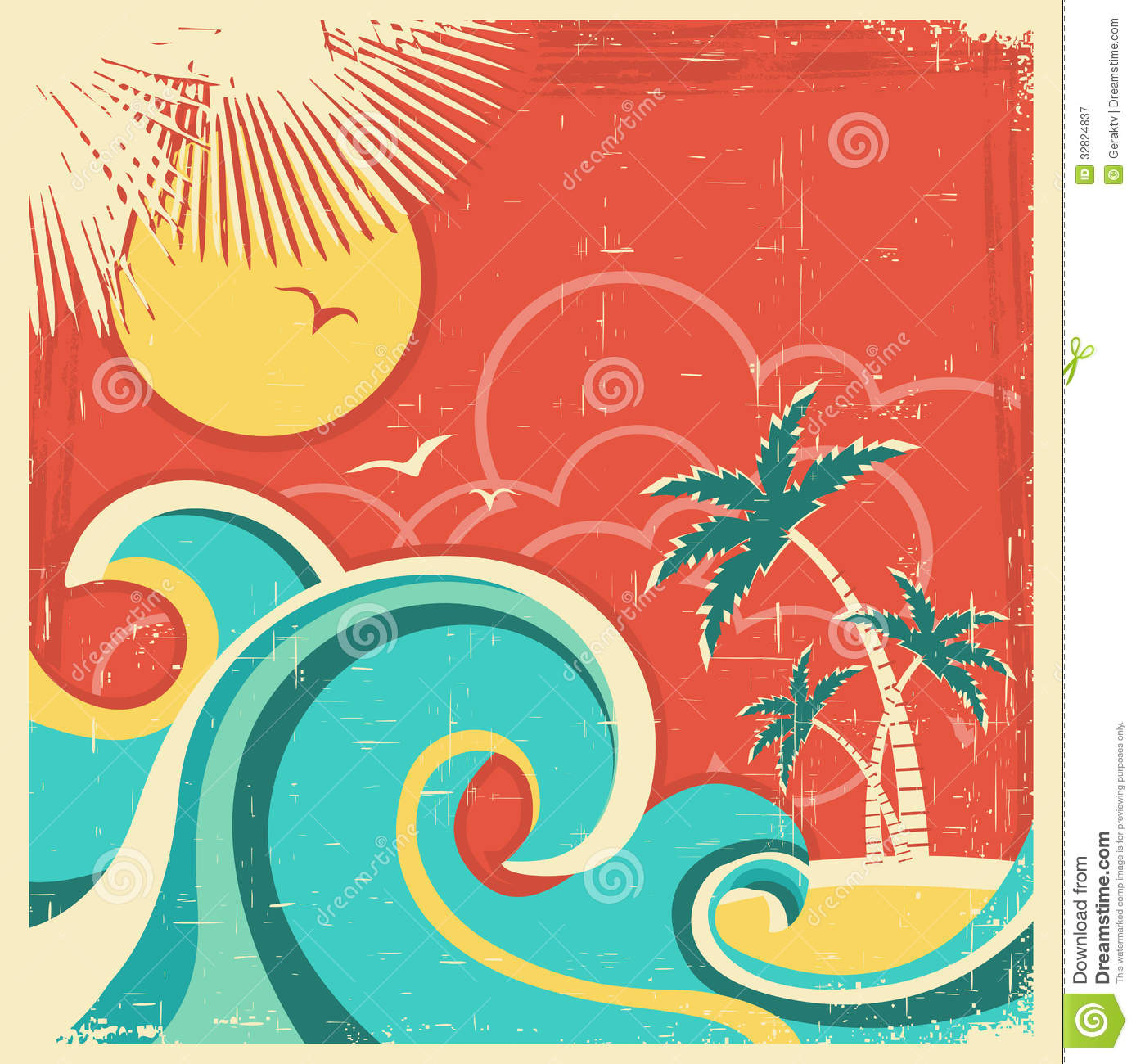 Beautiful Vintage Summer Seaside Illustration Royalty Free: Vintage Tropical Poster With Island And Palms.Vect Stock