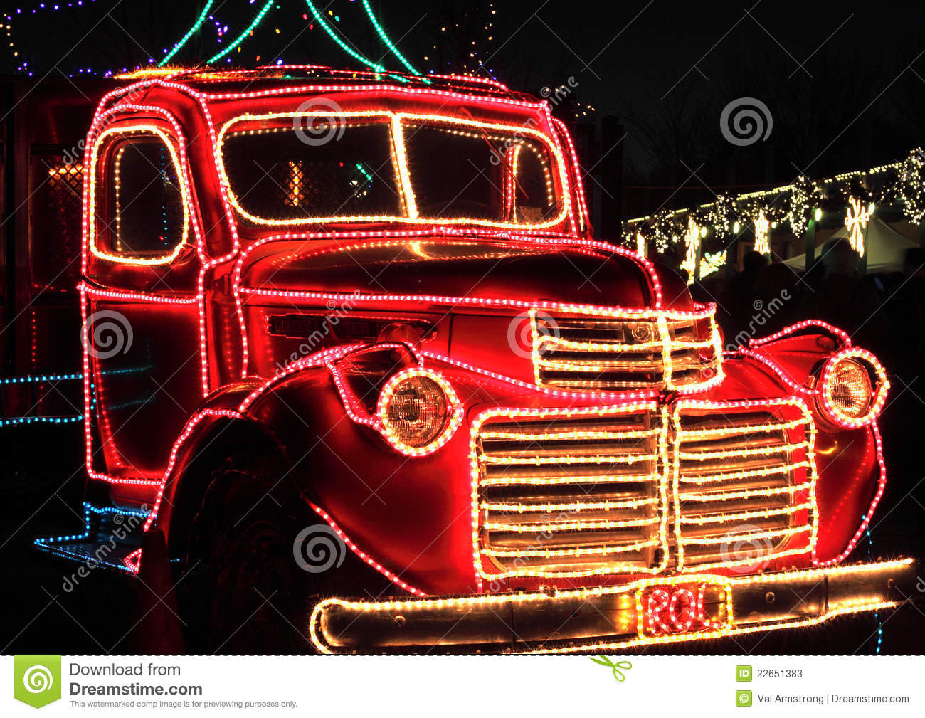 Old Pickup Lights : Vintage truck decorated holiday lights stock photos
