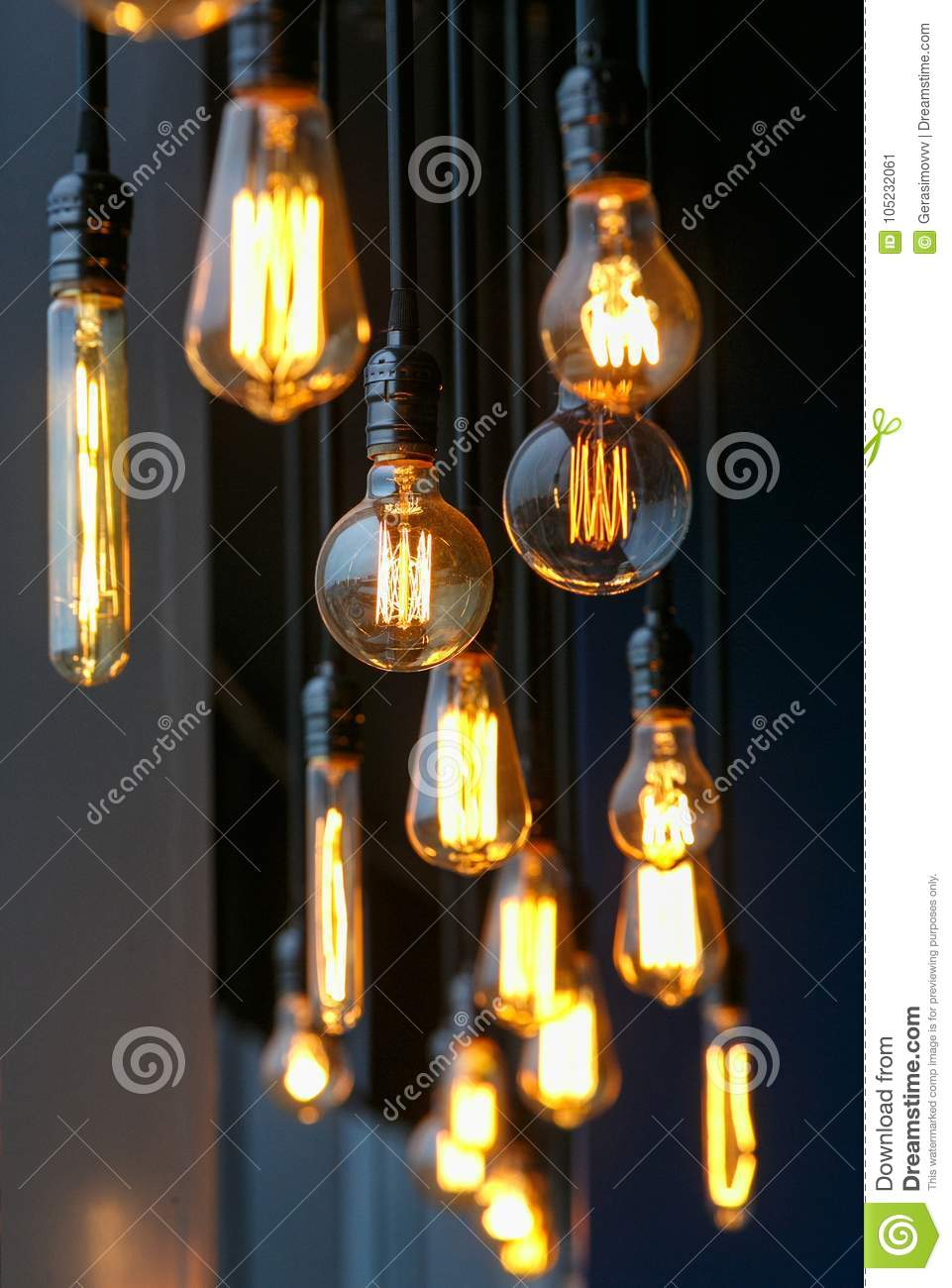 Different Vintage Tungsten Filament Lamps Hanging From The Ceiling Wiring A Light Fixture Black Wire Multiple Of Size And Style On Wires As An Interior Design Concept