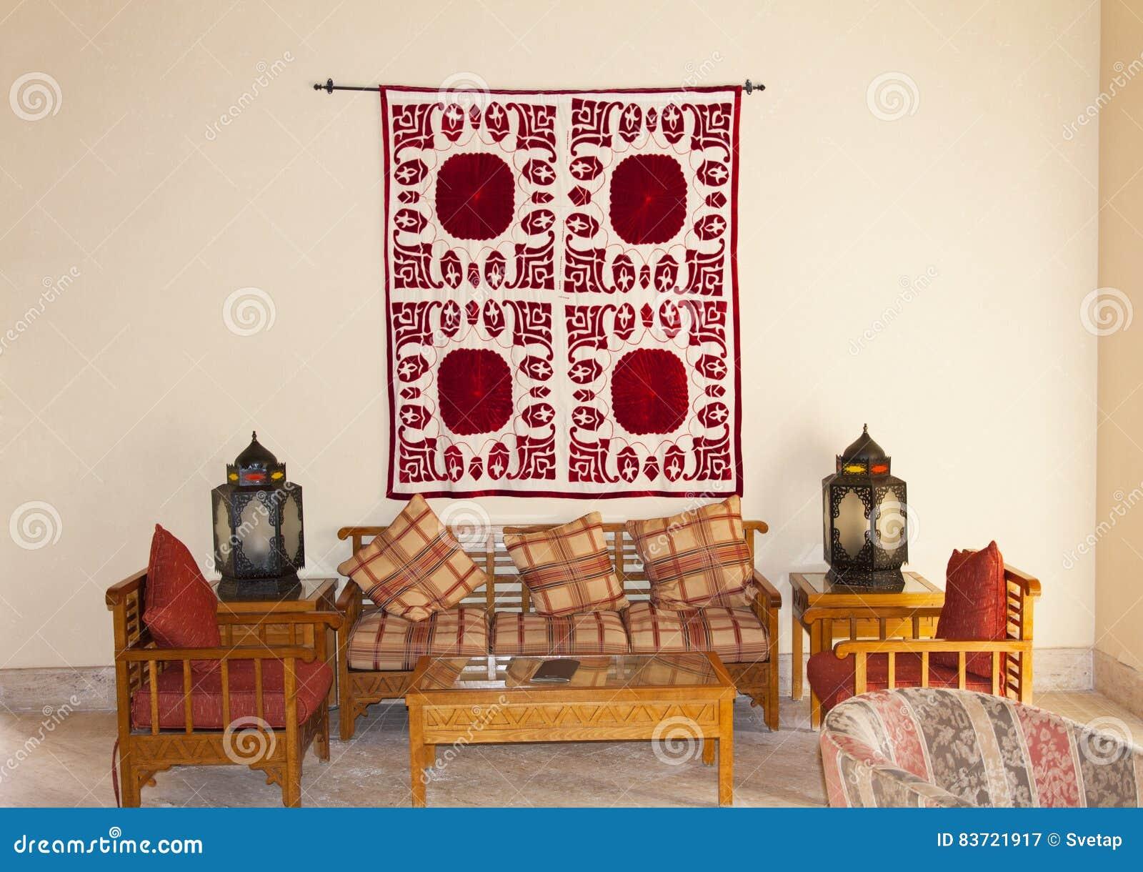 Vintage Turkish Arabian Or Indian Lantern Interior. Pillow On Sofa  Decoration Interior With Morocco Style Photo.