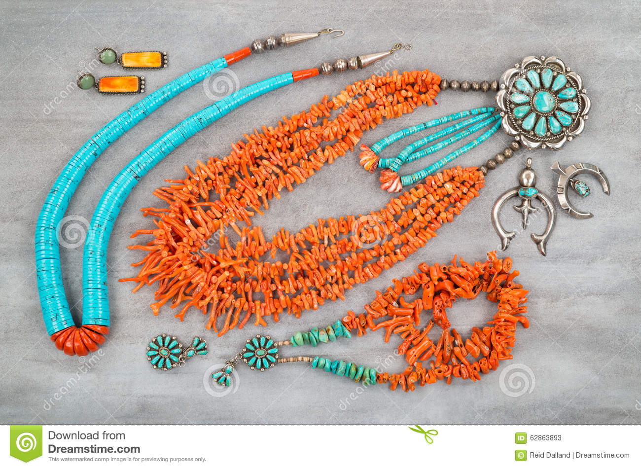 Vintage Turquoise Branch Coral And Silver Native American Jewelry