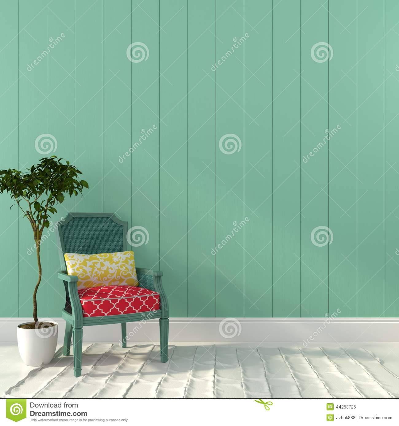 vintage turquoise chair with colorful decor stock photo - image