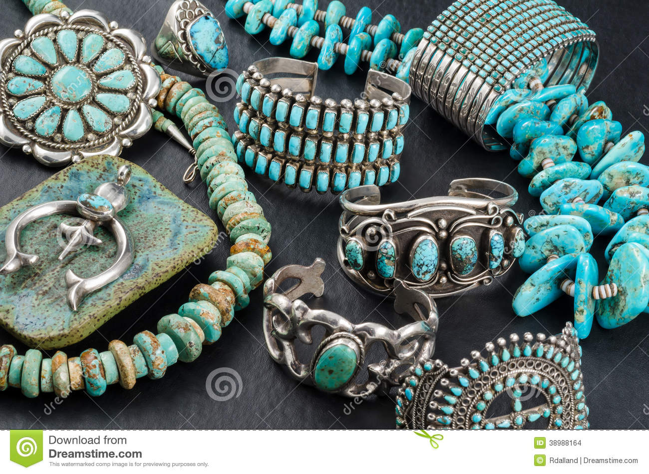 Turquoise And Silver Jewelry Stock Photo Image 38988164