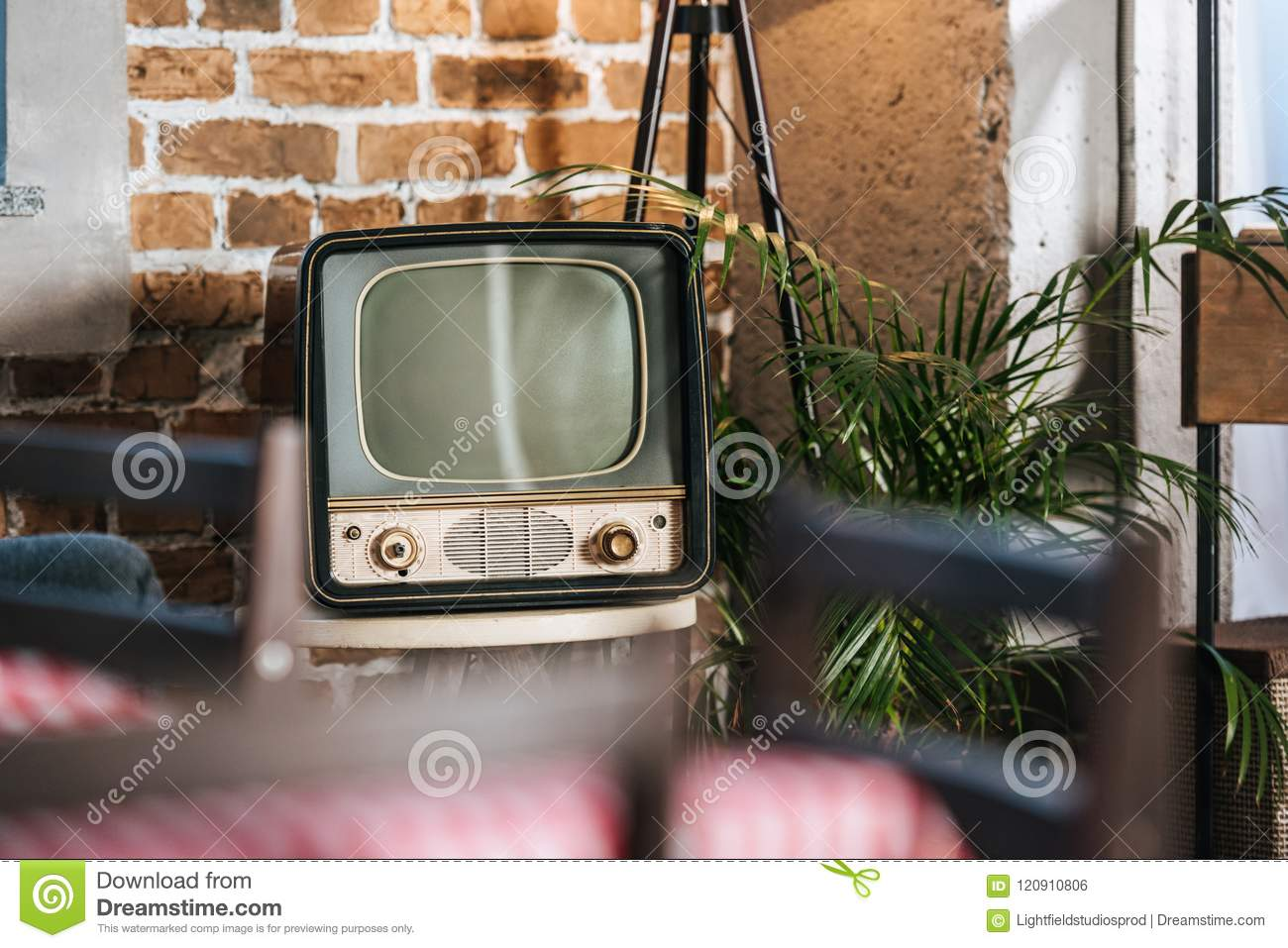 vintage tv with blank screen in 50s stock photo image of screen