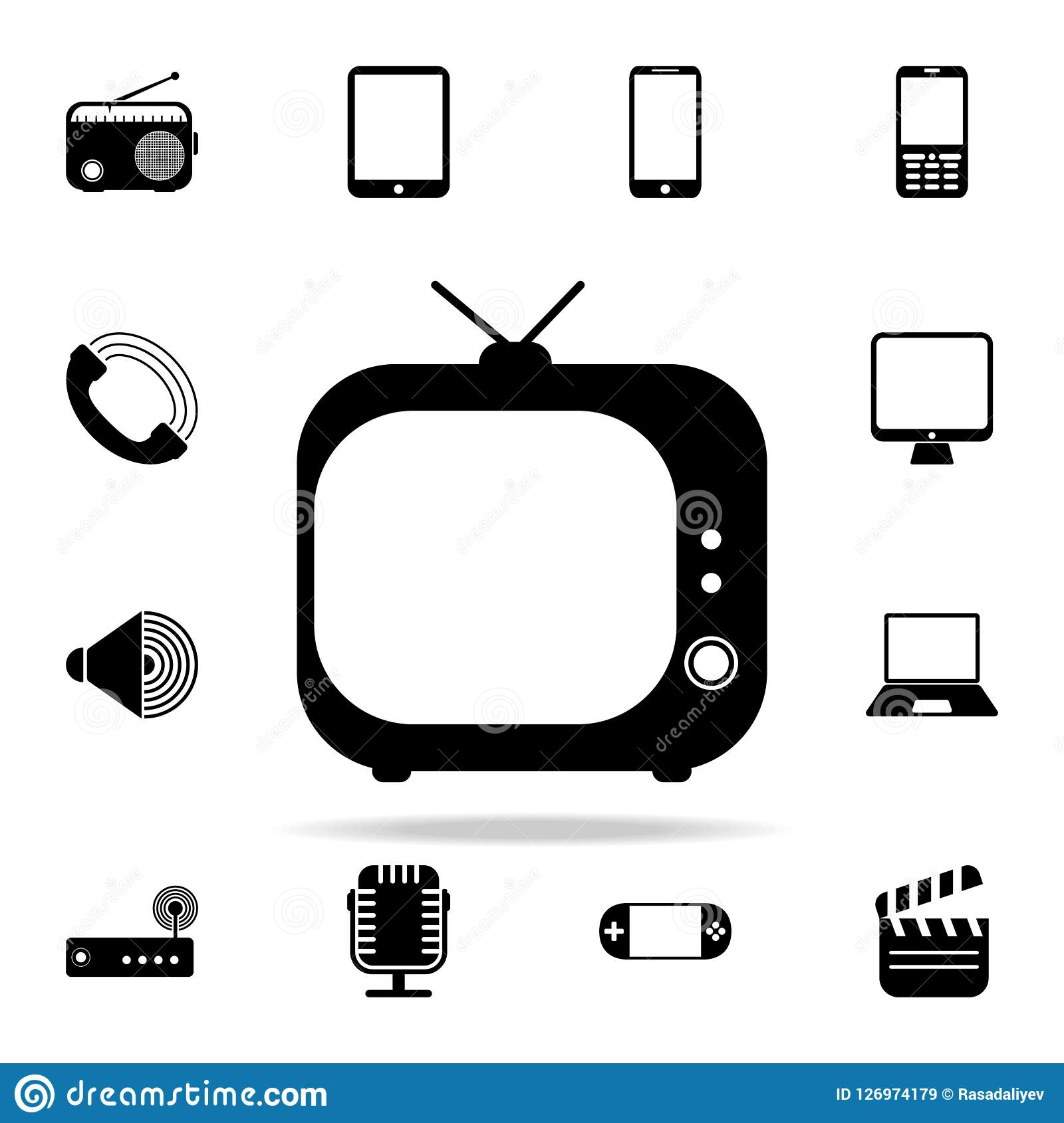 vintage TV icon. Media icons universal set for web and mobile