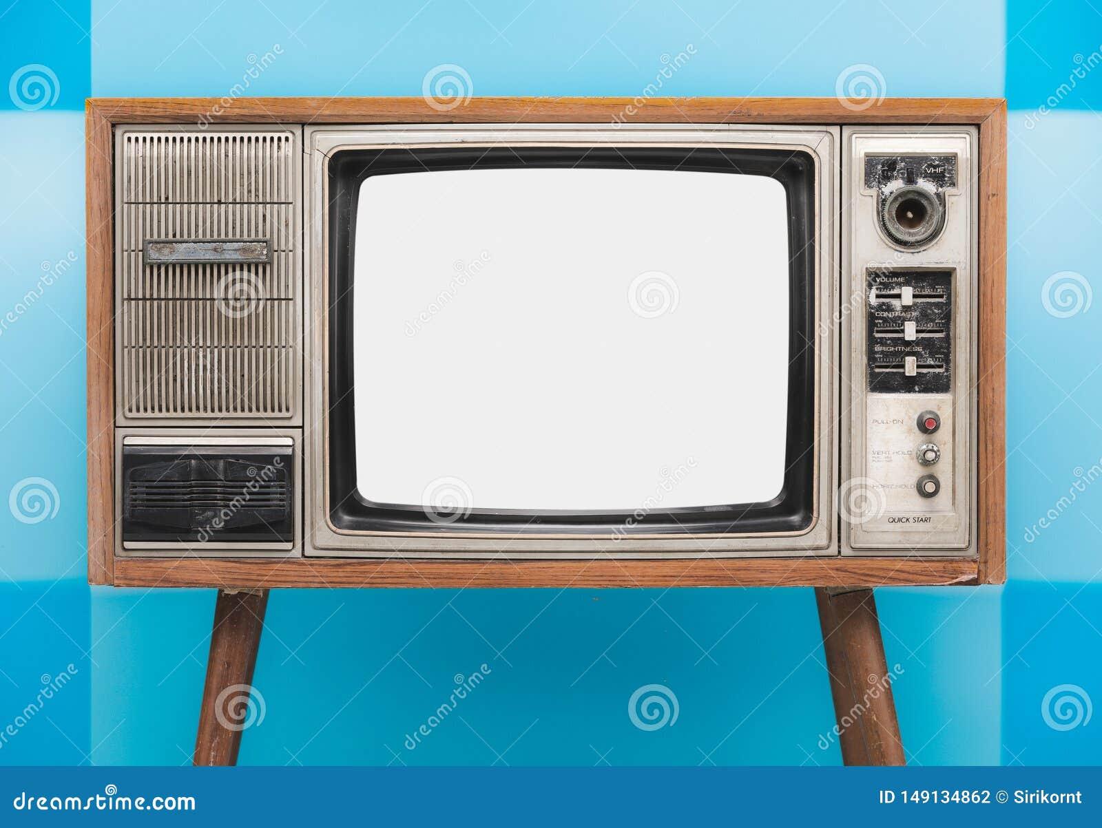 Vintage TV Isolated On Blue Background Stock Photo - Image
