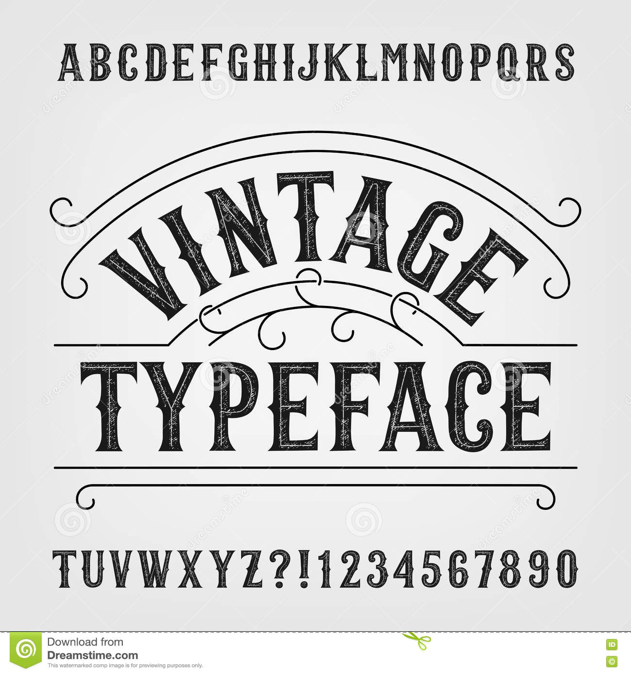 Retro Distressed Alphabet Vector Font Hand Drawn Letters And Numbers Vintage