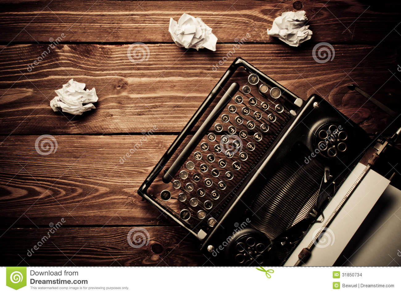 Vintage Typewriter And A Blank Sheet Of Paper Stock Images