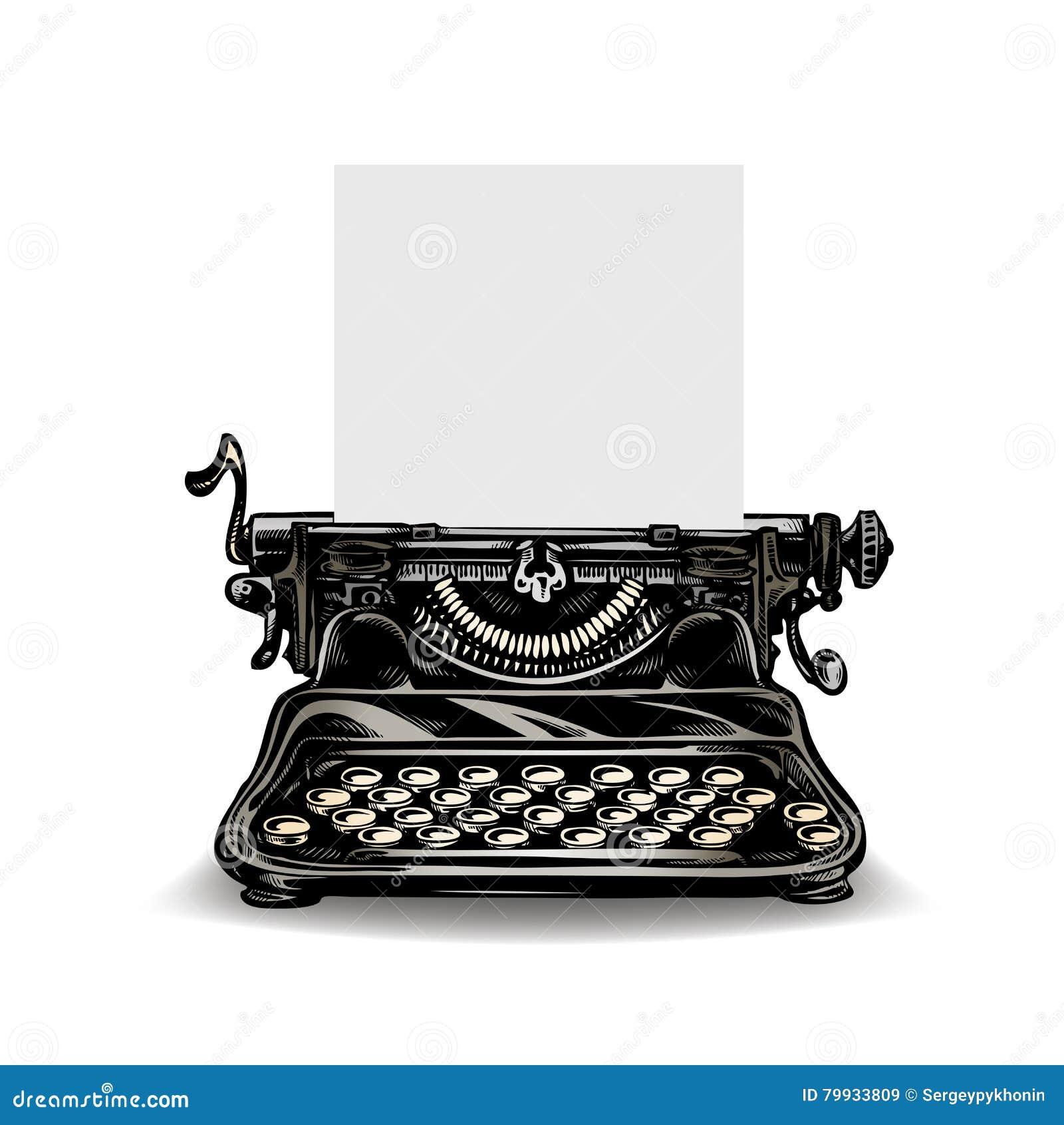 Vintage Typewriter Isolated On White Background. Vector ...
