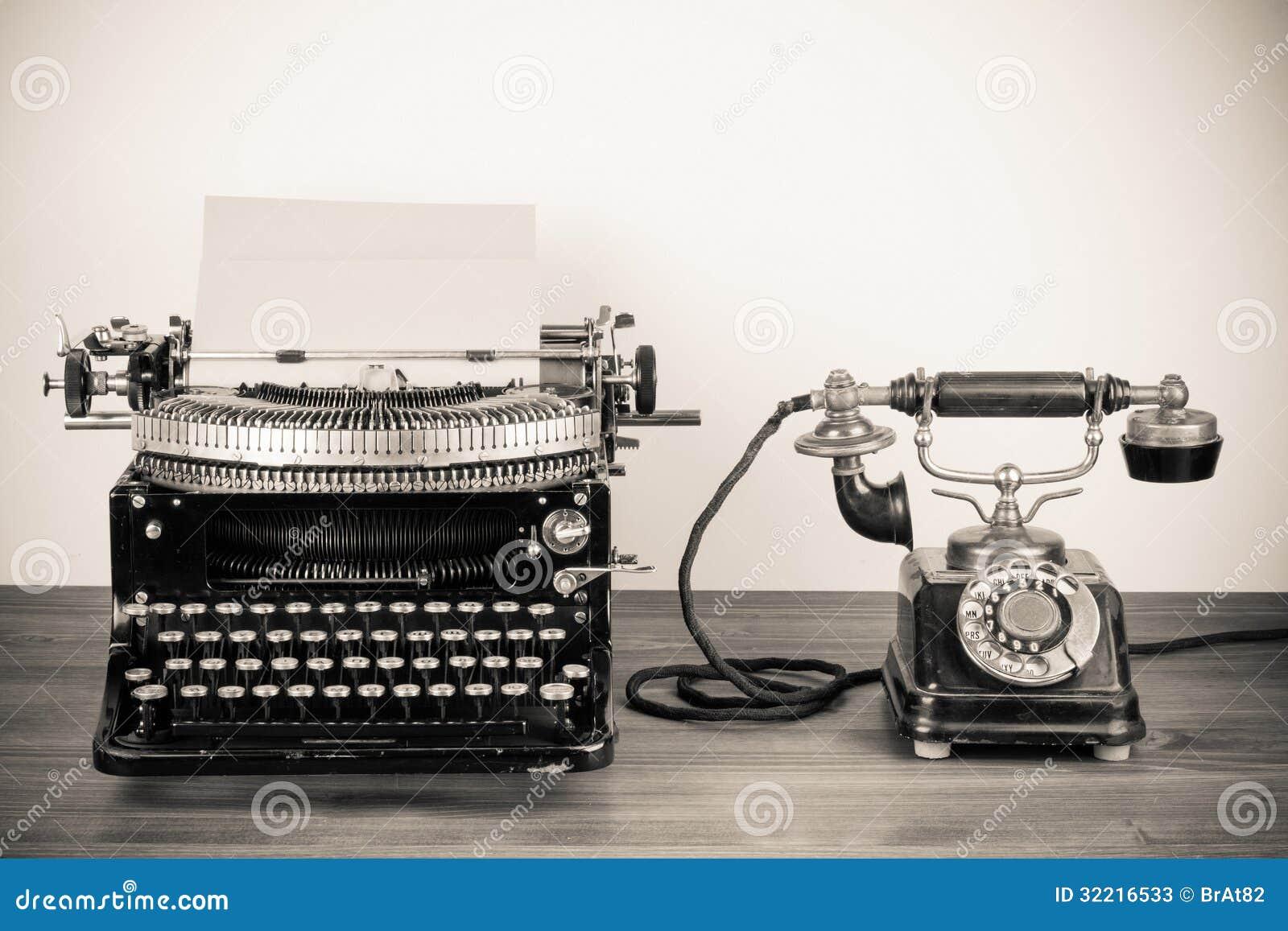 Vintage Typewriter And Telephone Stock Photos Image