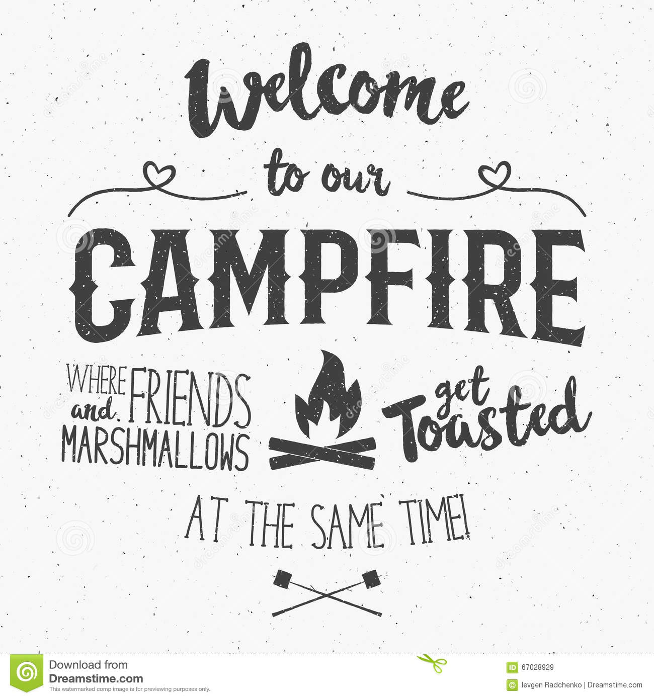 Vintage Typography Poster Illustration With Sign Welcome To Campfire