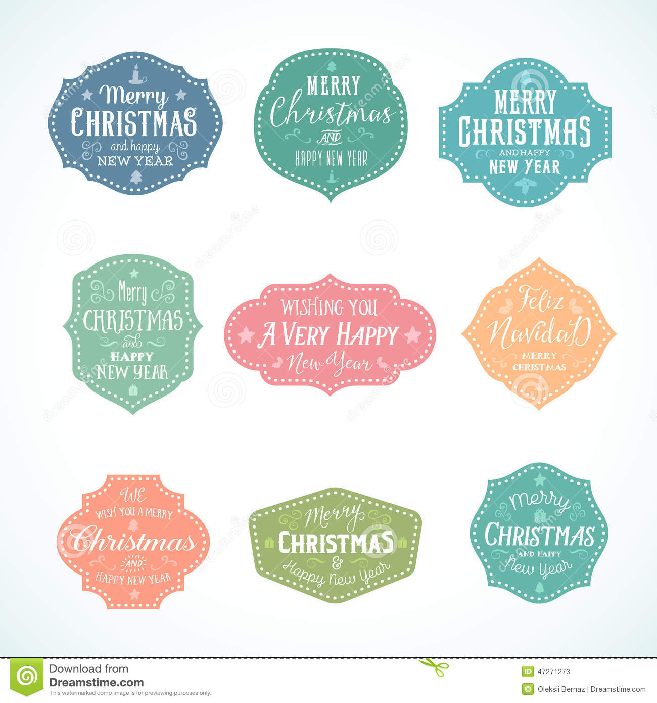vintage typography soft color cute christmas stock vector image 47271273