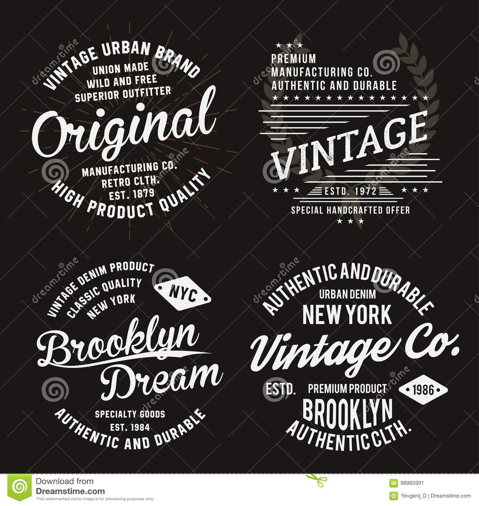 58d4246b Vintage typography for t-shirt print. Premium vintage t-shirt graphics set.
